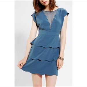 COOPERATIVE SCALLOP PEPLUM DRESS